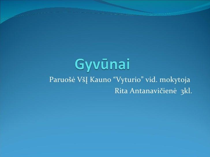 """Paruo šė VšĮ Kauno """"Vyturio"""" vid. mokytoja  Rita Antanavičienė  3kl."""