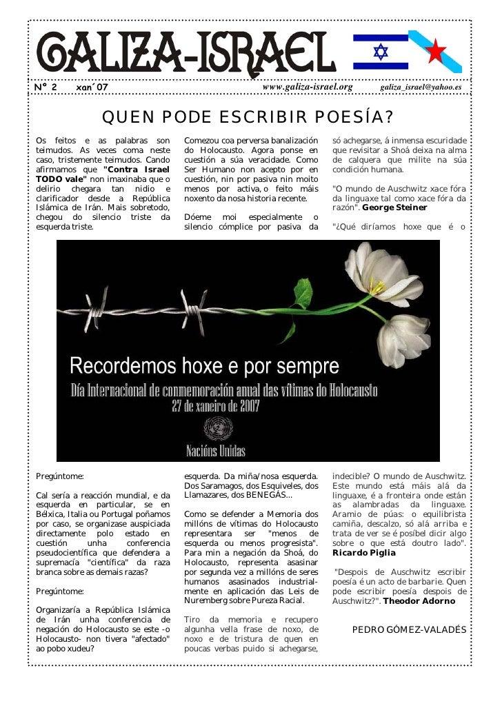 Nº 2      xan´07                                          www.galiza-israel.org           galiza_israel@yahoo.es          ...