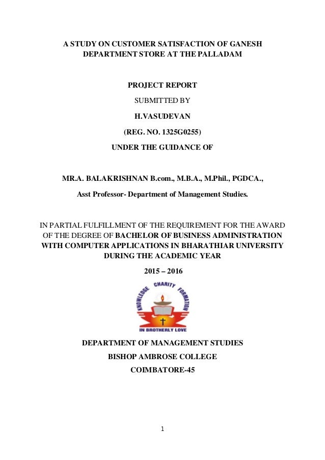 Customer Satisfaction Project Report Pdf