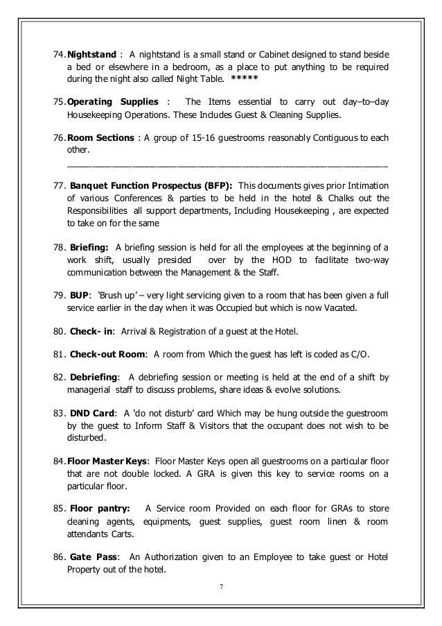Housekeeping Key Terms
