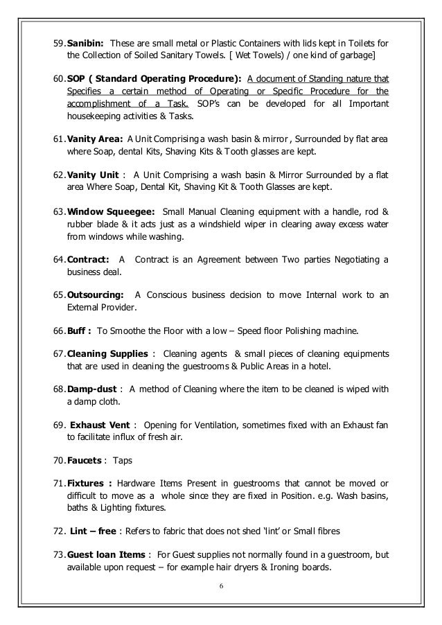 competency standards of housekeepers in metro Practical english vocabulary when working as a housekeeper words for rooms, furniture, appliances, cleaning supplies and laundry plus describing and this page lists english words and phrases used in the context of housekeeping duties each word is shown with its contextual meaning and some with.
