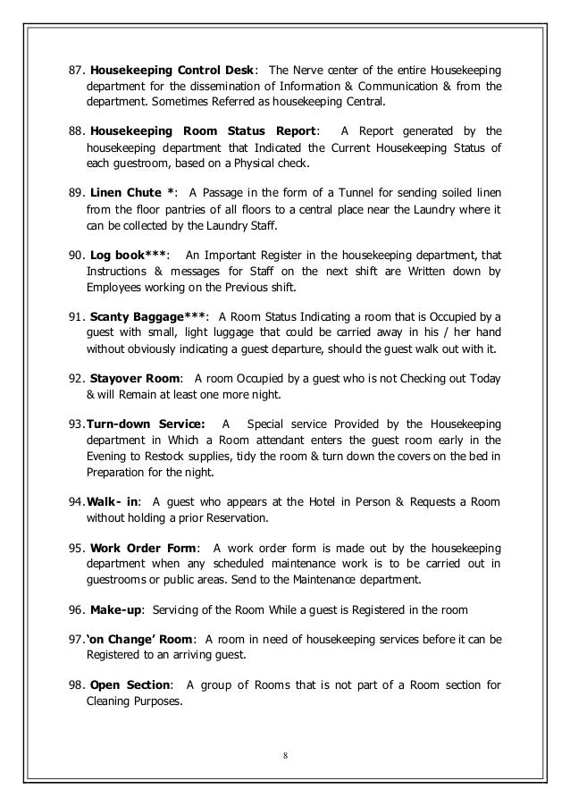 key terms for housekeeping rh slideshare net Housekeeping Procedure Manual Housekeeping Procedure Manual