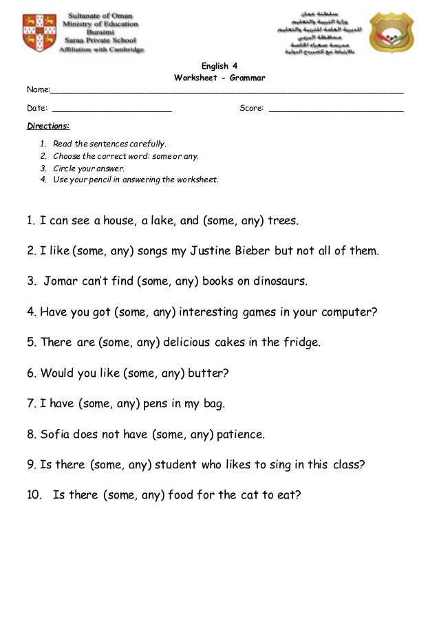 Use Of Some And Any Worksheet