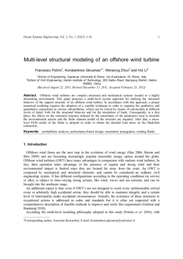 Ocean Systems Engineering, Vol. 2, No. 1 (2012) 1-16 1Multi-level structural modeling of an offshore wind turbineFrancesco...
