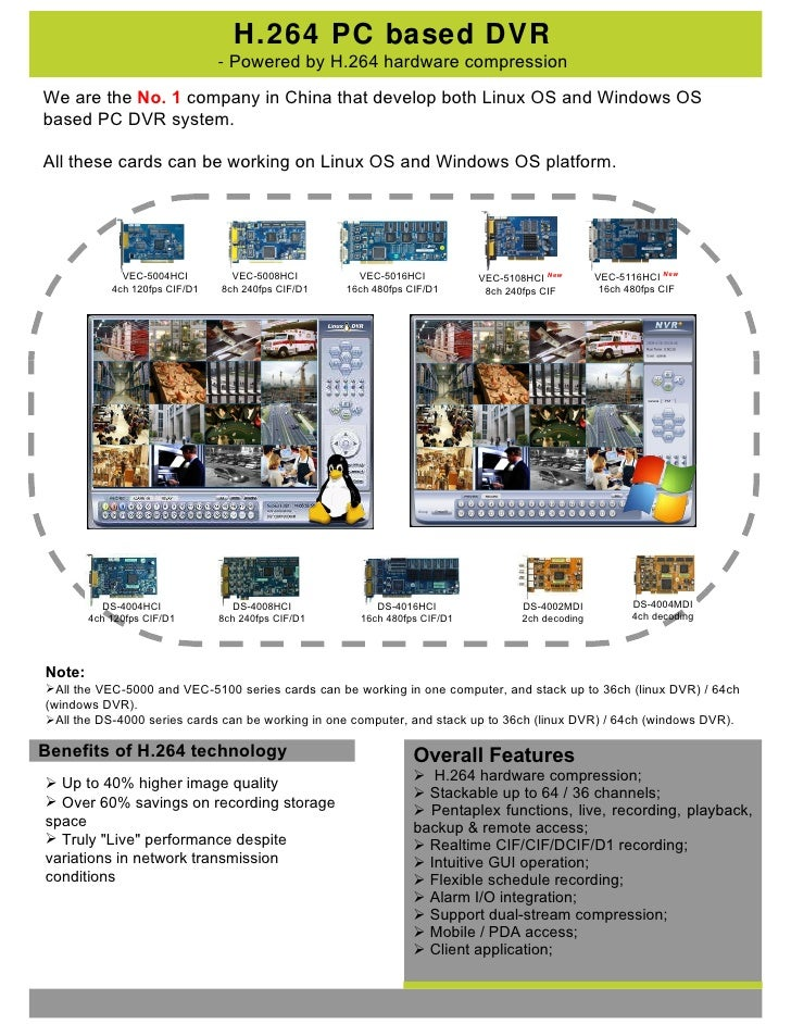 H.264 PC based DVR -  Powered by H.264 hardware compression Benefits of H.264 technology <ul><li>Up to 40% higher image qu...