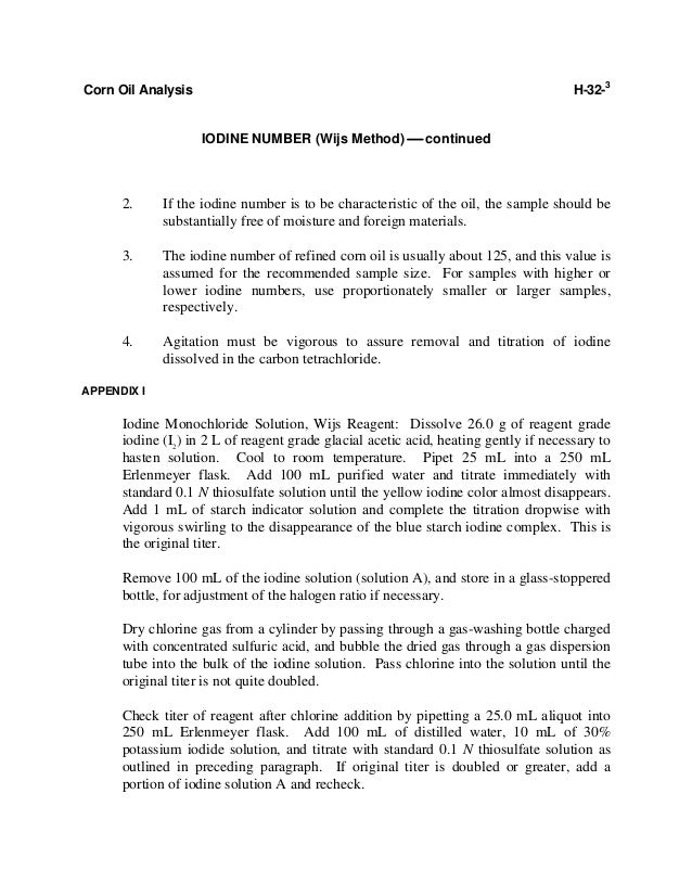 wijs method iodine value Iupac commission vi3, the remainder being general methods for oils and fats ( published  2205 determination of the iodine value: wijs' method statistical.
