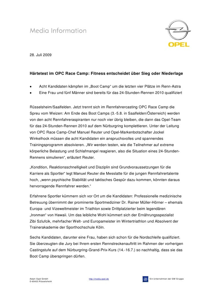 """28. Juli 2009Härtetest im OPC Race Camp: Fitness entscheidet über Sieg oder Niederlage        Acht Kandidaten kämpfen im """"..."""