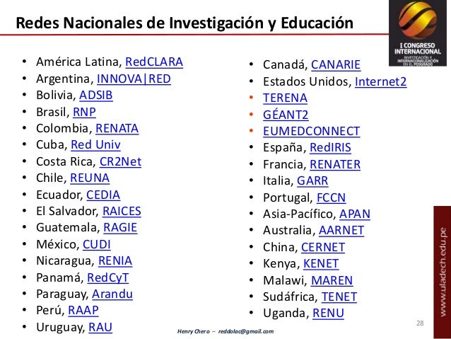 Henry Chero – reddolac@gmail.com • América Latina, RedCLARA • Argentina, INNOVA|RED • Bolivia, ADSIB • Brasil, RNP • Colom...