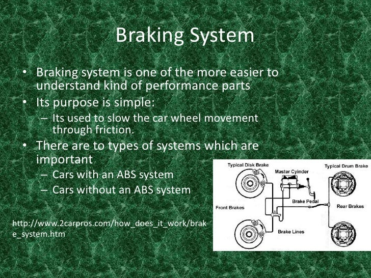 Braking System <br />Braking system is one of the more easier to understand kind of performance parts <br />Its purpose is...