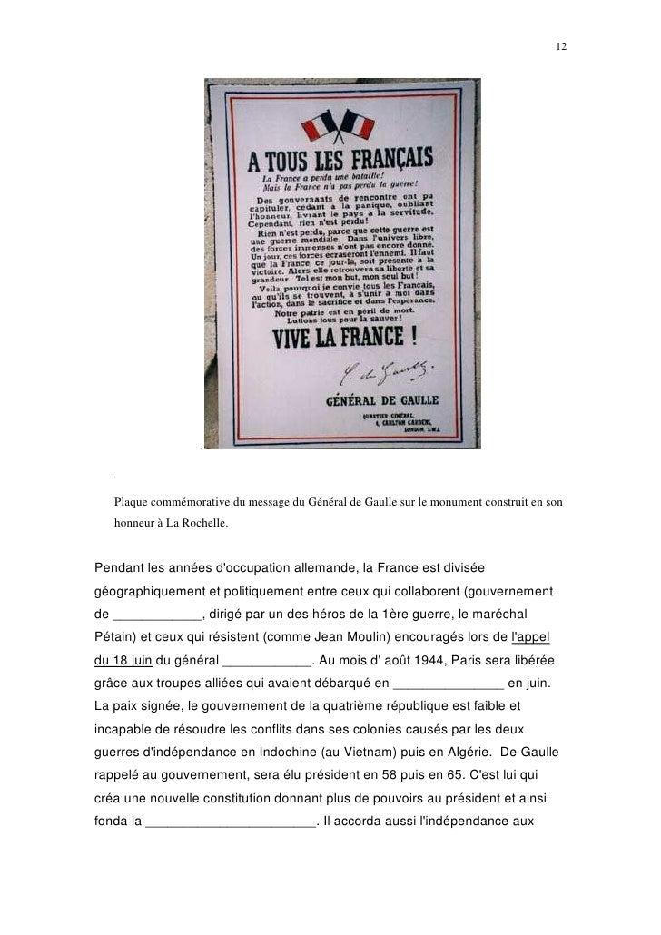 12        Plaque commémorative du message du Général de Gaulle sur le monument construit en son    honneur à La Rochelle. ...