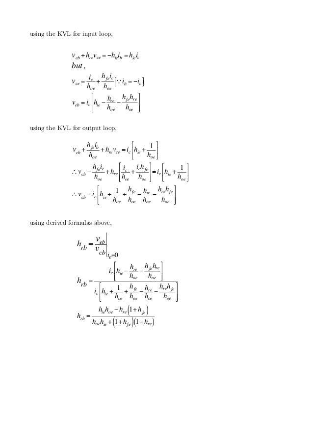 h parameter conversion formulas