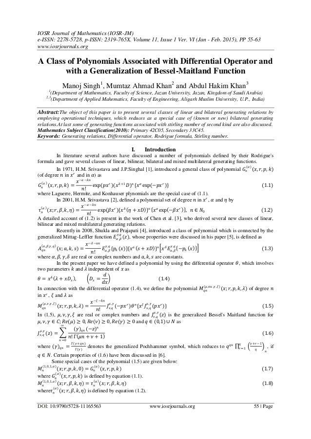 IOSR Journal of Mathematics (IOSR-JM) e-ISSN: 2278-5728, p-ISSN: 2319-765X. Volume 11, Issue 1 Ver. VI (Jan - Feb. 2015), ...