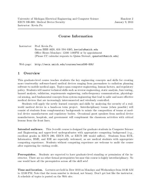 University of Michigan Electrical Engineering and Computer Science                         Handout 2EECS 598-008: Medical ...