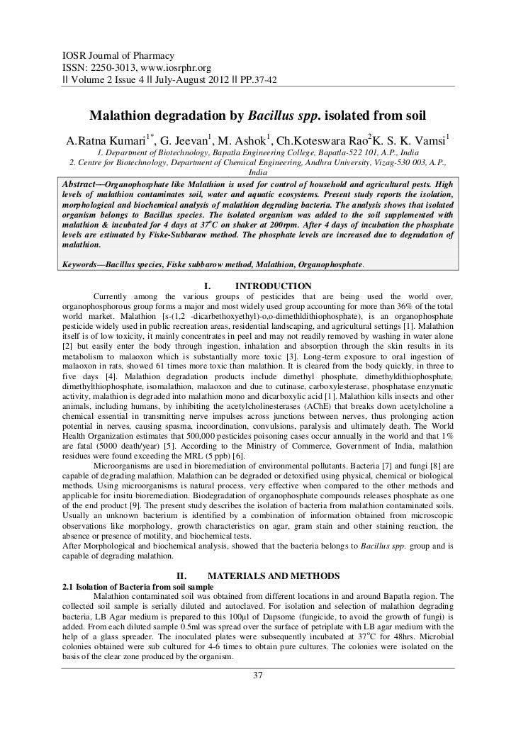 IOSR Journal of PharmacyISSN: 2250-3013, www.iosrphr.org‖‖ Volume 2 Issue 4 ‖‖ July-August 2012 ‖‖ PP.37-42       Malathio...