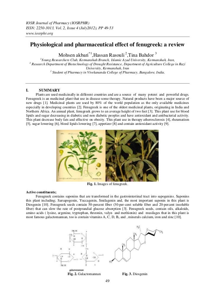 IOSR Journal of Pharmacy (IOSRPHR)ISSN: 2250-3013, Vol. 2, Issue 4 (July2012), PP 49-53www.iosrphr.org     Physiological a...