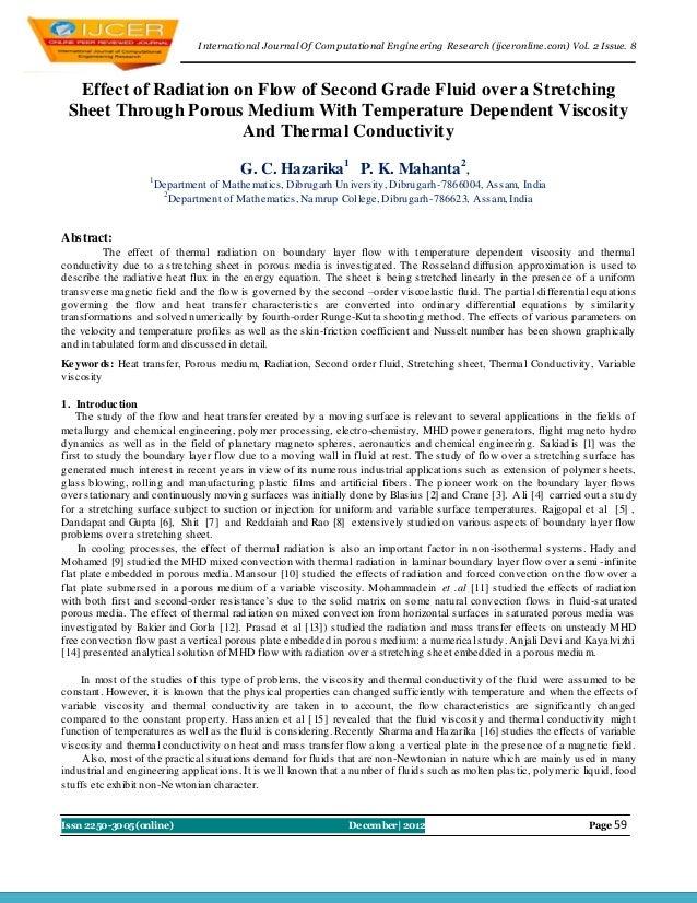 I nternational Journal Of Computational Engineering Research (ijceronline.com) Vol. 2 Issue. 8  Effect of Radiation on Flo...