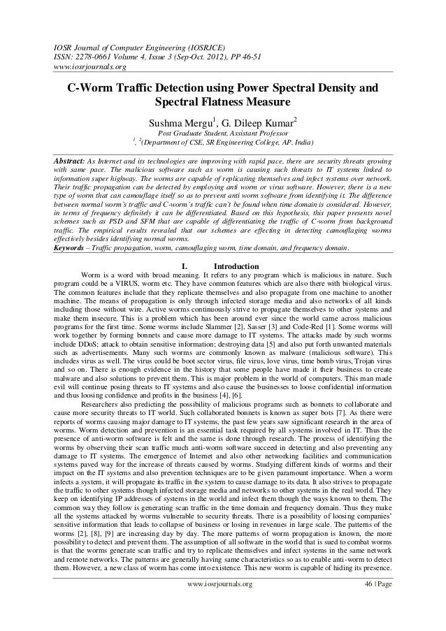 IOSR Journal of Computer Engineering (IOSRJCE) ISSN: 2278-0661 Volume 4, Issue 3 (Sep-Oct. 2012), PP 46-51 www.iosrjournal...