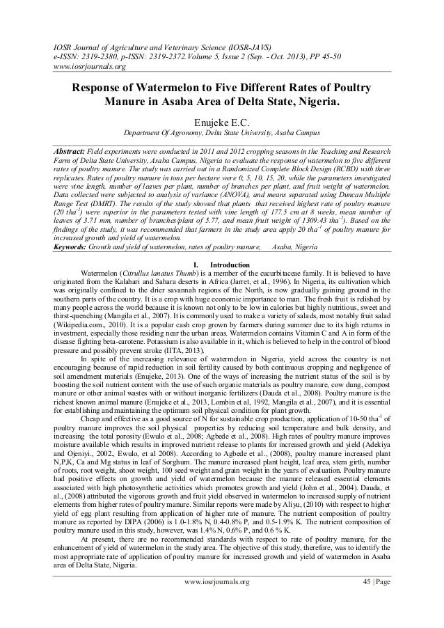 IOSR Journal of Agriculture and Veterinary Science (IOSR-JAVS) e-ISSN: 2319-2380, p-ISSN: 2319-2372. Volume 5, Issue 2 (Se...