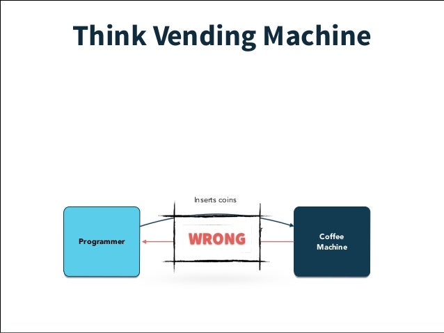 Think Vending Machine  Service  Guy  Coffee  Inserts coins  Out of  coffee beans  failure  Programmer Machine