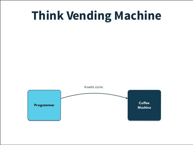 Think Vending Machine  Service  Guy  Coffee  Inserts coins  Out of  coffee beans  failure  Programmer Machine  Adds  more ...