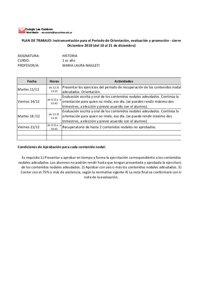 Colegio Las Cumbres Nivel Medio - secundaria@lascumbres.edu.ar ASIGNATURA: HISTORIA CURSO: 1 er a�o PROFESOR/A: MARIA LAUR...