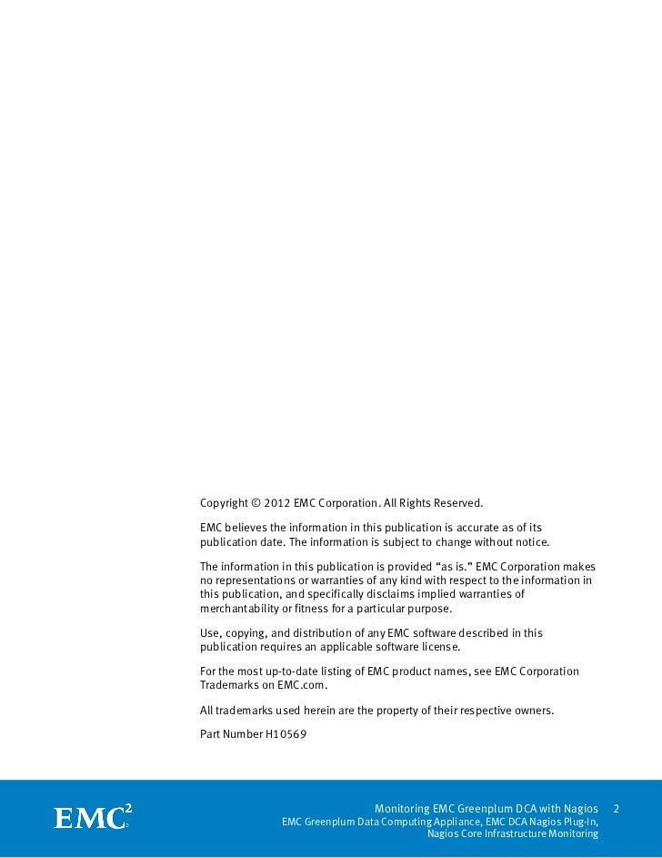 White Paper: Monitoring EMC Greenplum DCA with Nagios - EMC Greenplum Data Computing Appliance, EMC DCA Nagios Plug-In, Nagios Core Infrastructure Monitoring  Slide 2