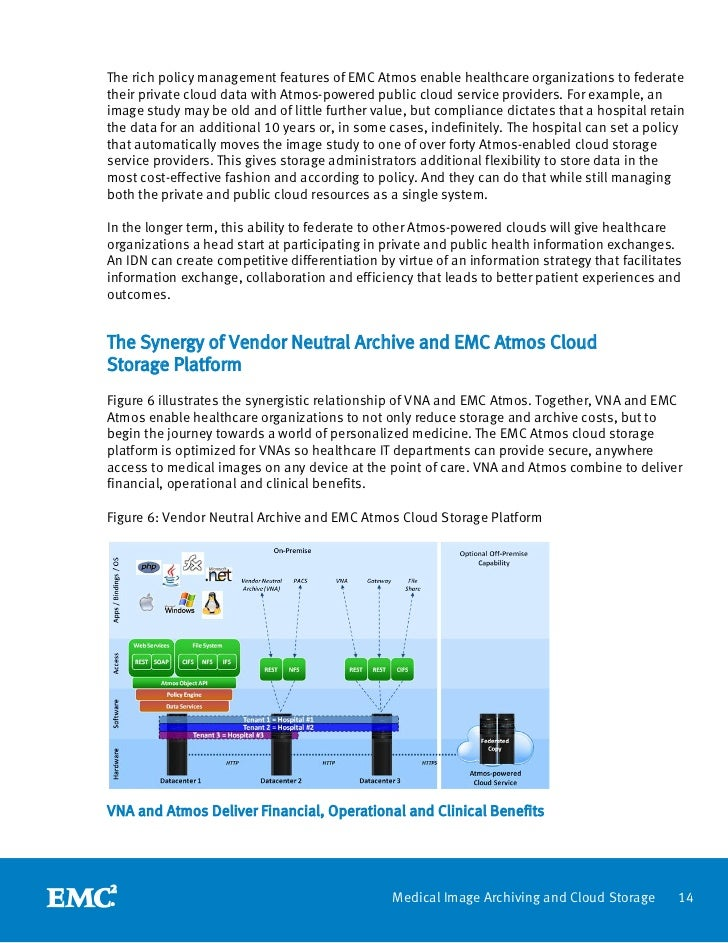 The rich policy management features of EMC Atmos enable healthcare organizations to federatetheir private cloud data with ...