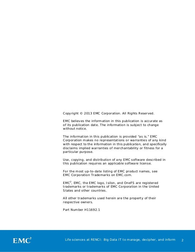 Copyright © 2013 EMC Corporation. All Rights Reserved. EMC believes the information in this publication is accurate as of ...
