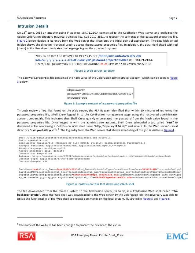 RSA Incident Response Threat Emerging Threat Profile: Shell_Crew
