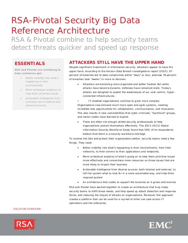 RSA-Pivotal Security Big Data Reference Architecture  RSA & Pivotal combine to help security teams detect threats quicker ...
