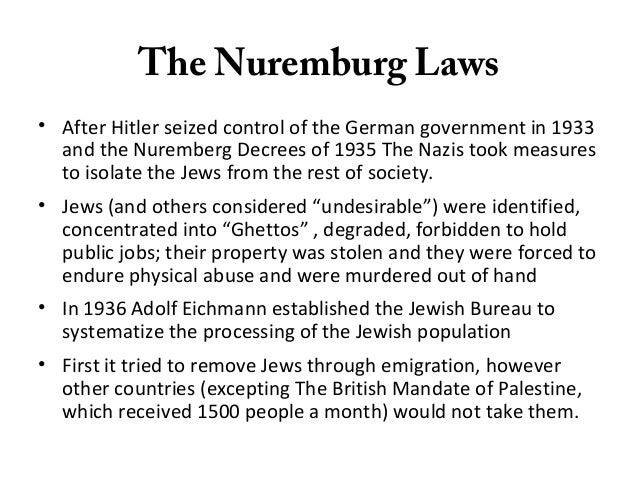 nuremberg laws against the jews Even people with jewish grandparents who had converted to christianity could be defined as jews the nuremberg laws of 1935 heralded a new wave of antisemitic.