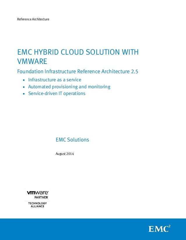 Reference Architecture  EMC Solutions  August 2014  EMC HYBRID CLOUD SOLUTION WITH VMWARE  Foundation Infrastructure Refer...