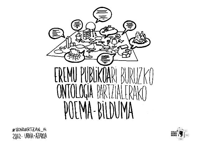 ESPAZIO PUBLIKOARI BURUZKO ONTOLOGIA PARTZIALERAKO POEMA-BILDUMA                         2012 Urria-Azaroa