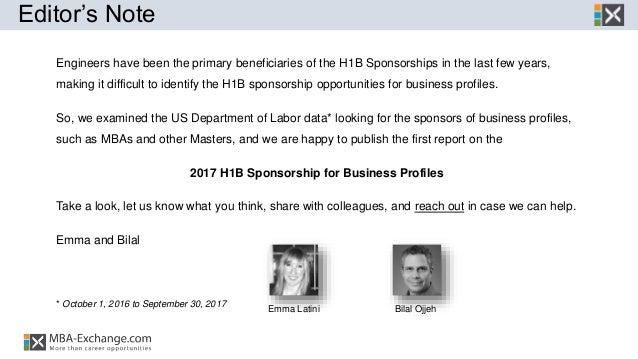 H1B Sponsorship - 2017 Business Profiles Report  Slide 3