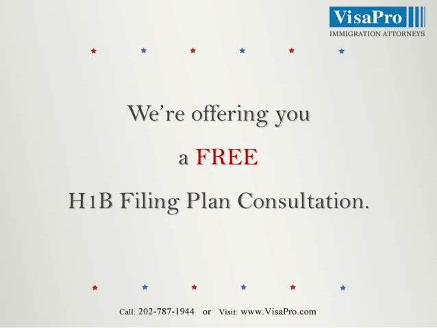 We're offering you a FREE H1B Filing Plan Consultation.