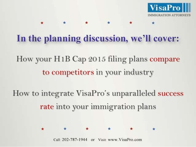 In the planning discussion, we'll cover: How your H1B Cap 2015 filing plans compare  to competitors in your industry How t...