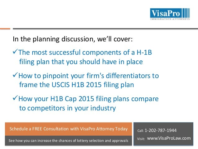 In the planning discussion, we'll cover: The most successful components of a H-1B filing plan that you should have in pla...