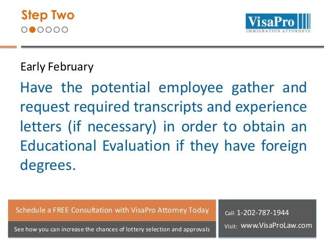 Step Two  Early February  Have the potential employee gather and request required transcripts and experience letters (if n...