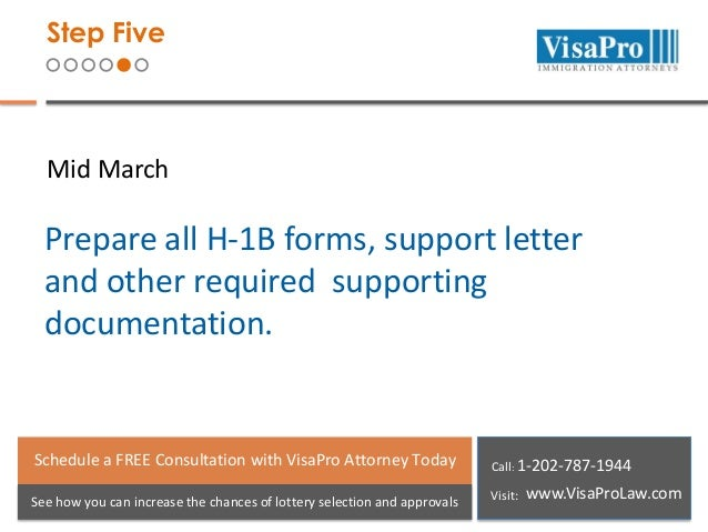Step Five  Mid March  Prepare all H-1B forms, support letter and other required supporting documentation.  Schedule a FREE...