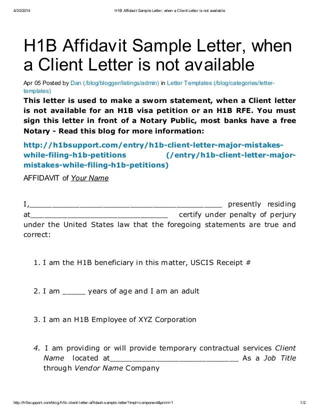 H1 b affidavit sample letter when a client letter is not available – Affidavit Letter Format