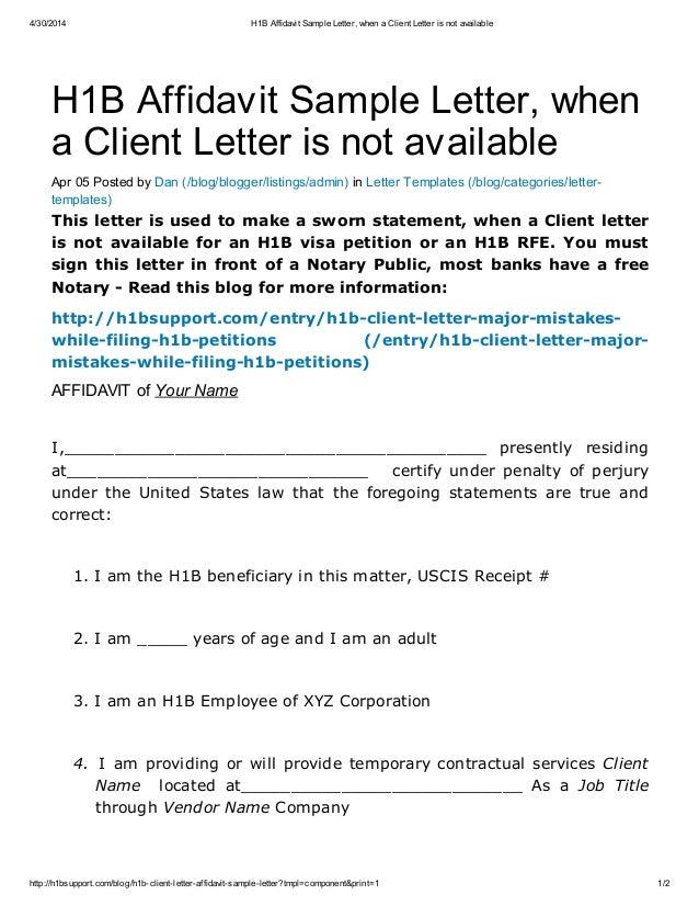 4/30/2014 H1B Affidavit Sample Letter, When A Client Letter Is Not ...