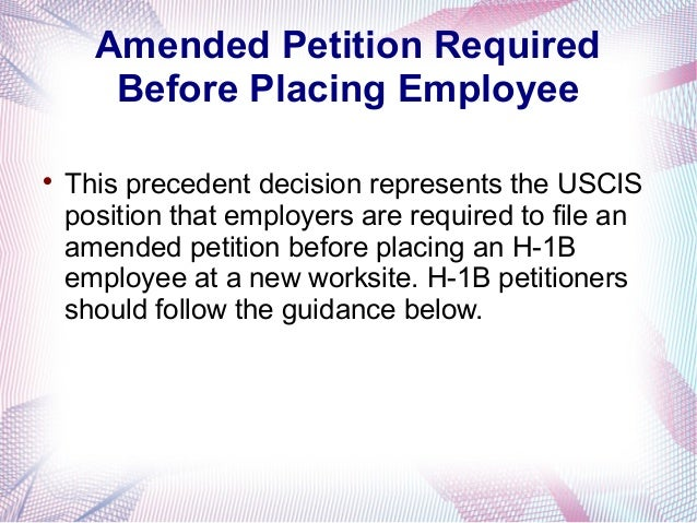H1B Amendment Under The New Rule Of Simeio Solutions Decision