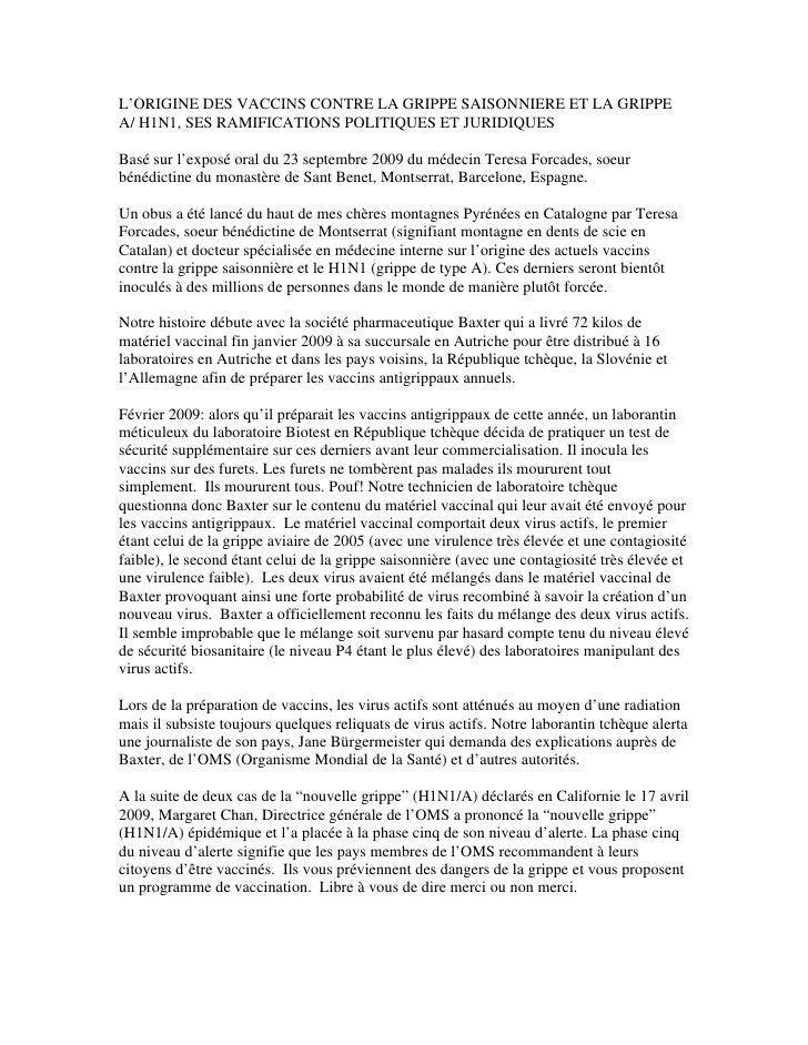 L'ORIGINE DES VACCINS CONTRE LA GRIPPE SAISONNIERE ET LA GRIPPE A/ H1N1, SES RAMIFICATIONS POLITIQUES ET JURIDIQUES  Basé ...