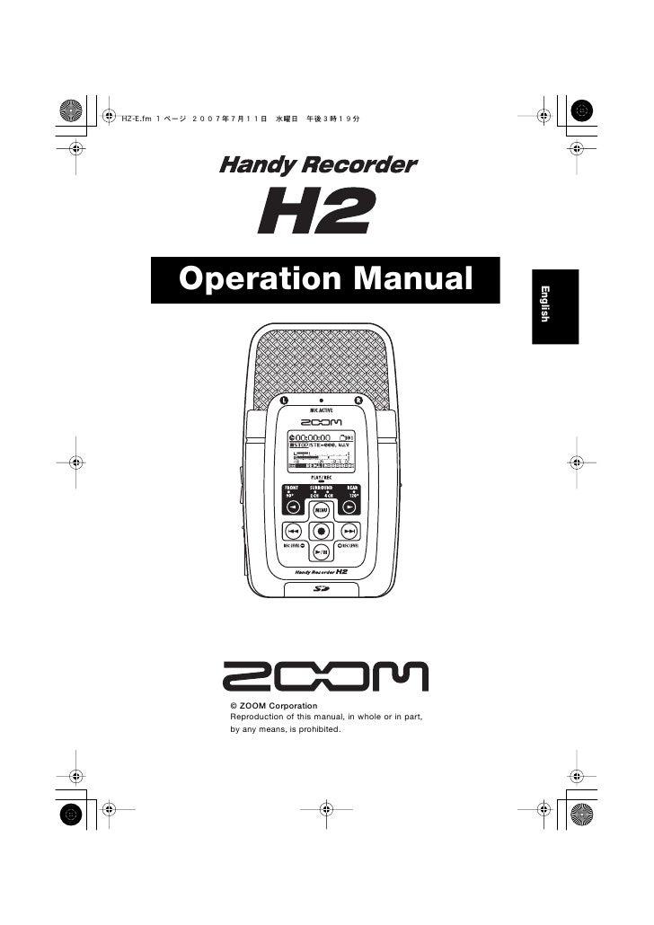 Operation Manual                                                           English       © ZOOM Corporation   Reproduction...