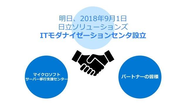 明日、2018年9月1日 日立ソリューションズ ITモダナイゼーションセンタ設立 マイクロソフト サーバー移行支援センター パートナーの皆様