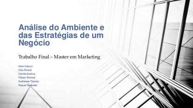 Análise do Ambiente e  das Estratégias de um  Negócio  Trabalho Final – Master em Marketing  Aline Catucci  Caio Amaral  C...
