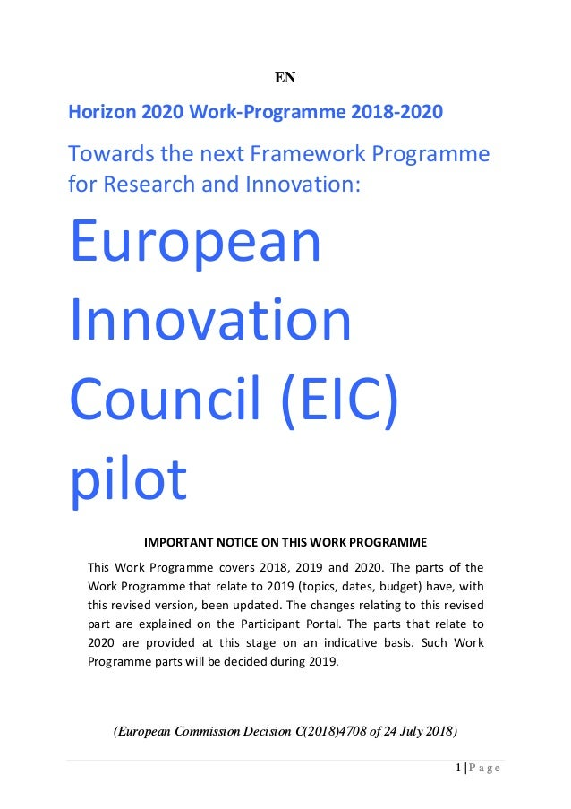 1 | P a g e EN Horizon 2020 Work-Programme 2018-2020 Towards the next Framework Programme for Research and Innovation: Eur...