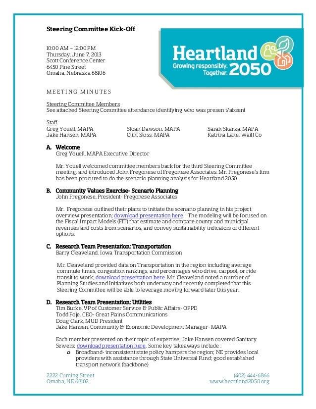 Steering Committee Kick-Off 10:00 AM – 12:00 PM Thursday, June 7, 2013 Scott Conference Center 6450 Pine Street Omaha, Neb...