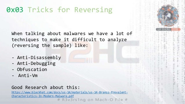 0x03 Tricks for Reversing When talking about malwares we have a lot of techniques to make it difficult to analyze (reversi...
