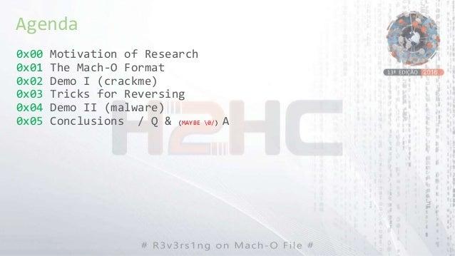 0x00 Motivation of Research 0x01 The Mach-O Format 0x02 Demo I (crackme) 0x03 Tricks for Reversing 0x04 Demo II (malware) ...